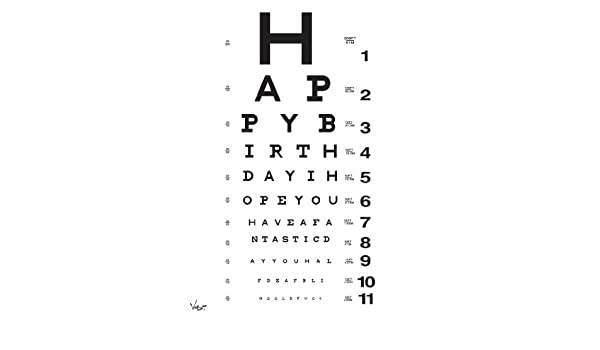 Amazon Eye Chart Birthday Card By Vash Designs Greeting