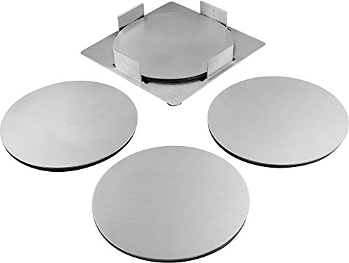 Large Product Image of Pro Chef Kitchen Tools Round Drink Coasters - Protect Coffee Table From Beer Mugs And Wine Glasses - Room Decor Coaster Set For Coffee Cup Holder - Stainless Steel Home Bar Accessories Decoration