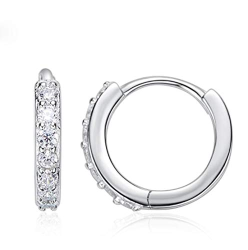 Cherry Blossom Charm Stud Earrings Sterling Silver with Swarovski Blue Crystal Enamel & Pink Flower Charm for Women Girls Fashion Fine Jewelry (C) ()
