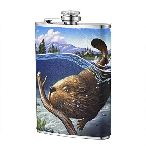 Shot Flask - Busy Beaver Food Grade (304) Stainless Steel Flask Leakproof 8 Oz Hip Flask for Storing Whiskey Alcohol Liquor -