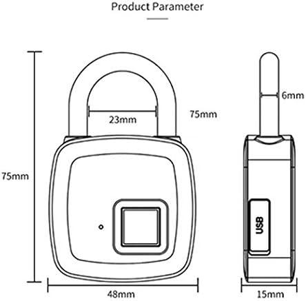 インテリジェント指紋認識大型南京錠自動Bluetoothアプリ電子スマートロック10指紋 (Color : Gray, Size : 7*3.5*12cm)