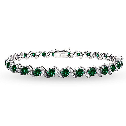 GemStar USA Sterling Silver Simulated Emerald 4mm Round-Cut S Design Tennis Bracelet with White Topaz Accents