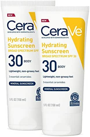 CeraVe 100% Mineral Sunscreen SPF 30   Body Sunscreen With Zinc oxide & Titanium Dioxide for Sensitive Skin   5 Oz, Pack Of 2