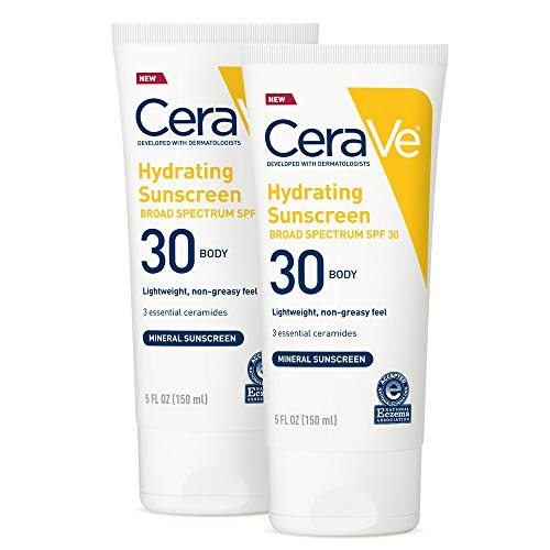 CeraVe 100% Mineral Sunscreen SPF 30 | Body Sunscreen with Zinc Oxide & Titanium Dioxide for Sensitive Skin | 5 oz, Pack of 2