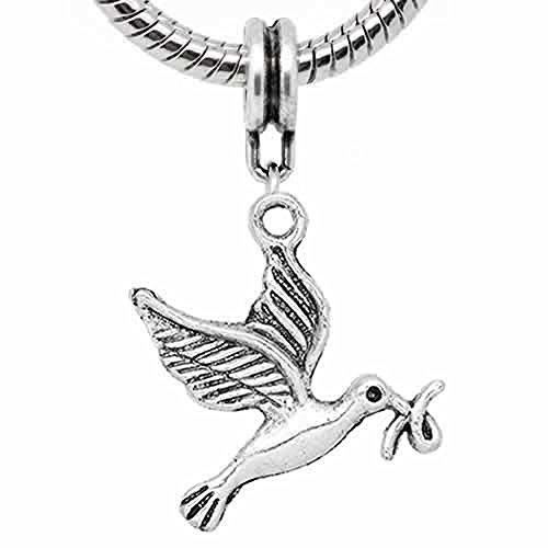 Flying Dove Bird Charm Dangle Charm Bead for Snake Chain Charm Bracelet