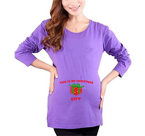 Gravidanza Collo Purple1 Maniche T shirt Donna Lunghe Premaman Per Rotondo Pregnancy Amangaga Maglietta Moda Sciolto Maglia Bluse Top TqvCwqtO