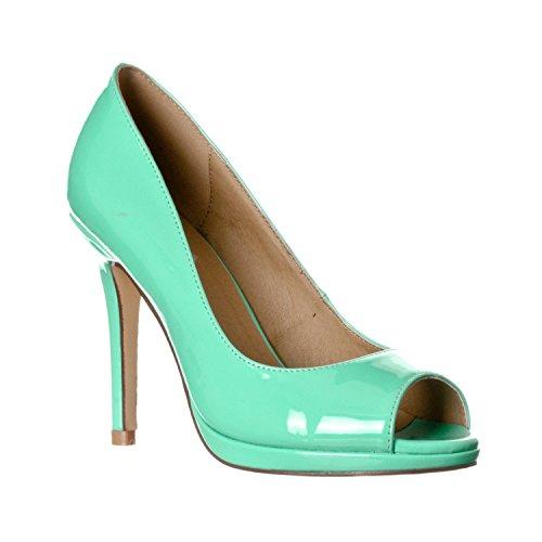 - Riverberry Women's Julia Slight Platform Open Toe High Heel Pumps, Mint Patent, 10
