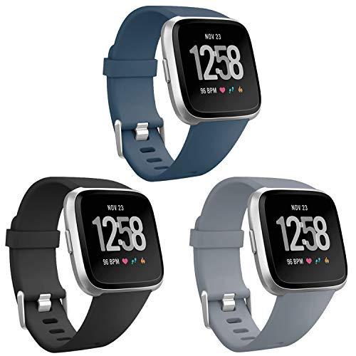 ESeekGo Compatible with Fitbit Versa Bands/Versa Lite/SE Band, Sport Silicone Breathable Band Replacement Fitness Watch Wristband for Men and Women, 3-Pack Gray&Black&Slate, Large
