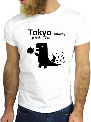 T-SHIRT JODE GGG24 Z0796 DINOSAUR TOKYO COOL VINTAGE ROCK FUNNY FASHION CARTOON NICE AMERICA BIANCA - WHITE XL