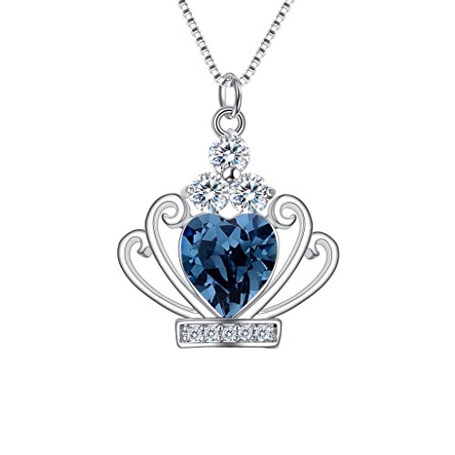 BriLove Women 925 Sterling Silver CZ Heart Shape Queen Crown Pendant Necklace Adorned with Swarovski Crystals London Blue Topaz Color December (Crystal Crown Charm Necklace)