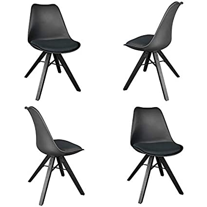 Stupendous Yurucy Dining Chairs Covers Set Of 4 Office Chairs Modern Plastic Cover Natural Wood Legs Padded Seat For Bedroom Kitchen Black Uwap Interior Chair Design Uwaporg