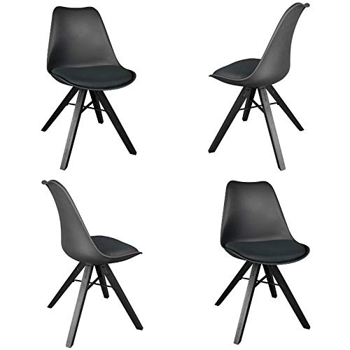 Cheap YURUCY Office Dining Chairs Black Furniture Kitchen Student Chair Set of 4 Side Wood Assembled Legs for Office Living Room Bedroom (Black)