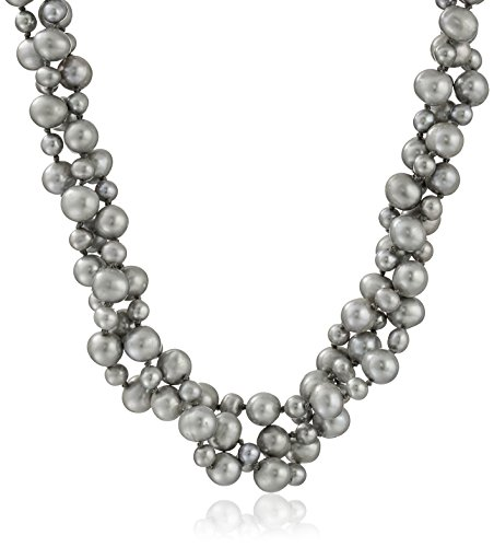 Cultured Pearl Twisted Necklace (Sterling Silver 4-8mm High Luster Twisted 3 Rows Grey Cultured Freshwater Pearl Strand Necklace, 18