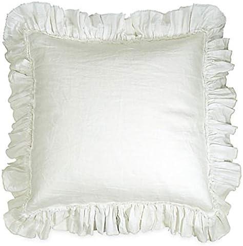 Amazon Com Bed Bath Beyond Wamsutta Ruffle White Euro Pillow Sham Linen Cotton Home Kitchen