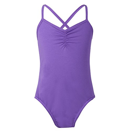 dPois Kids Girls' Solid Color Criss Cross Spaghetti Strap Ballet Dancer Basic One-Piece Leotard Bodysuit Purple - Ballet Jumper