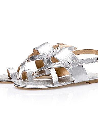 LFNLYX Zapatos de mujer-Tacón Plano-Talón Descubierto / Anillo Frontal / Punta Abierta-Sandalias-Exterior / Vestido / Casual-PU-Negro / Marrón / Silver