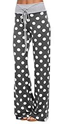 Marilyn & Main Women\'s Comfy Soft Stretch Floral Polka Dot Pajama Pants,Medium,Charcoal Polka Dot