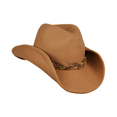 Camel Winter Shapeable Brim Wool Cowboy Hat with Adorable Braided Chain Band