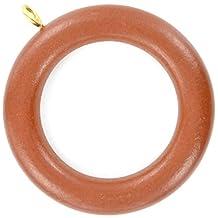 Bulk Hardware BH03288 Wooden Curtain/ Drape Pole Ring with Screw Eye - Internal diameter is 1-7/8 inch Dark Brown, Pack of 24