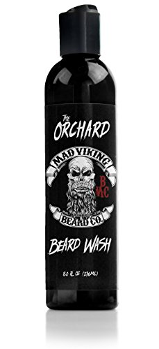 Mad Custom Cherry - Mad Viking Beard Co. - Premium Beard Wash with Provitamin B5, Deep Cleansing and Conditioning, All Natural, Improves Elasticity and Softness. Hydrates The Skin. Made in The USA - 8oz(The Orchard)