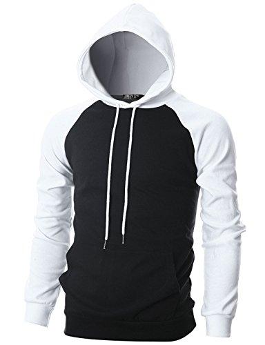 GIVON Mens Slim Fit Long Sleeve Lightweight Raglan Hoodie with Kanga Pocket/DCF027-BLACK/WHITE-M