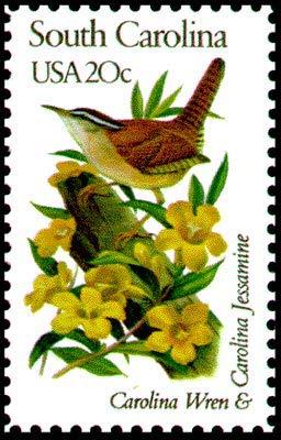 USA 1982 20-Cent South Carolina State Bird and Flower Postage Stamp, Catalog No 1992