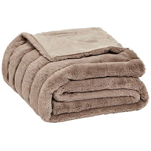 Medium Faux Fur - AmazonBasics Faux Fur Striped Throw Blanket - 63 x 87 Inch, Camel