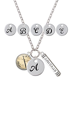 Domed Music - Flute Custom Initial Courage Strength Zoe Necklace