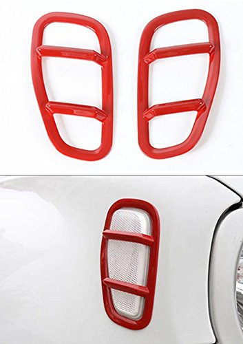 Dwindish Red ABS Car Front Side Fender Light Lamp Cover Trim for Jeep Renegade 2015 Up