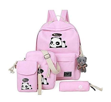 e8241d11988a Amazon.com: 2018 Panda School Bags for Teenage Girls Canvas Backpack ...