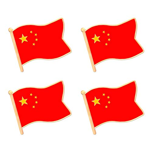ALEY China Chinese Flag Lapel Pin Decorations (4 Pack)