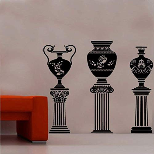 FSDS Wall Vinyl Stickers - Ancient Greek Vase On Column Decal Vinyl Wall Sticker Roman Ornate God - Home Decoration Wall Decals