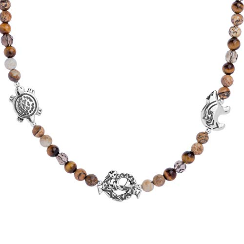 American West Sterling Silver Smokey Quartz, Jasper and Tiger Eye Gemstone and 3 Charm Beaded Necklace 19 Inch