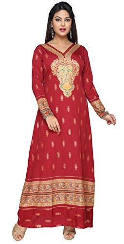 TrendyFashionMall Maroon Gold Print Kaftan Maxi Dress Abaya KFT01062 4XL-50