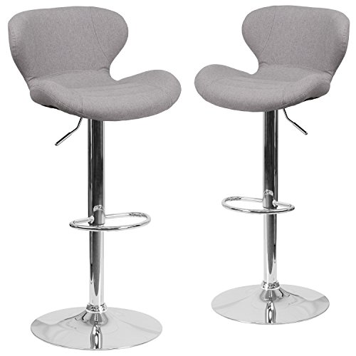 Chrome Stools - Flash Furniture 2 Pk. Contemporary Gray Fabric Adjustable Height Barstool with Chrome Base