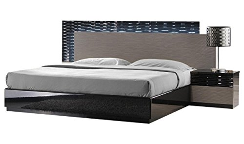 J&M Furniture Roma Black & Grey Lacquer with Unique Wave Design Queen Size Bedroom Set ()