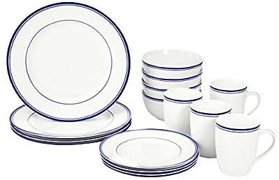 AmazonBasics 16-Piece Cafe Stripe Dinnerware Set, Service for 4