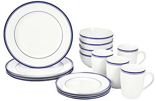 AmazonBasics 16-Piece Cafe Stripe Kitchen Dinnerware Set, Plates, Bowls, Mugs, Service for 4, - Set Enamelware Dinnerware