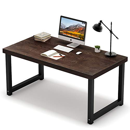 Tribesigns 55 inch Rustic Solid Wood Computer Desk, Vintage Industrial Large Writing Desk PC Laptop Study Table Workstation with 27.5 inch Wide Desktop for Home Office Espresso