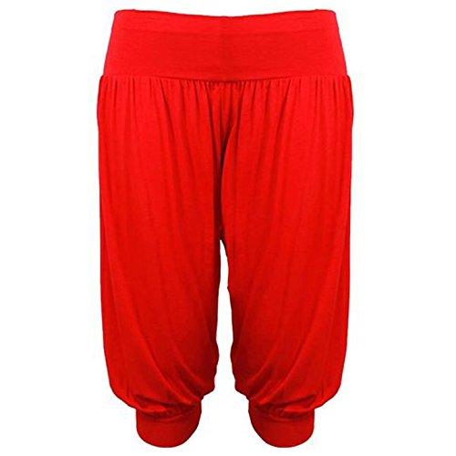 Pantalones anchos estilo árabe, largo pirata, cintura elástica, color liso Rojo