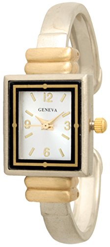 - Geneva Skinny Metal Bangle with Small Square Face (Brush Two Tone)