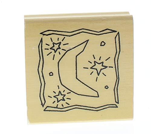 Anita's Moon and Stars Celestial Scene Wooden Rubber -