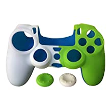 SKINOWN Two-Tone Anti-Slip PS4 Controller Skin Silicone Case for Sony PlayStation 4 matching 2 STUDDED Thumb Grip WHITE&GREEN With Gift Package