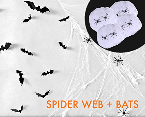 Halloween Spider Web Pics (Cotiparty Halloween Decorations - 800 Sqft Stretch Spider Web Kit, Bat Wall Decals and Fake)