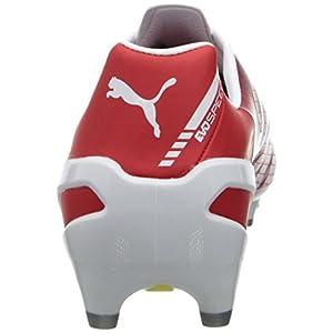 PUMA Men's Evospeed 1.3 Firm Ground Soccer Shoe,White/High Risk Red/Empire Yellow/Estate Blue/Silver Metallic,9 M US