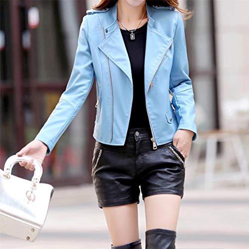 Longues Zipper Manches Manches Cuir Longues Bleu Manteaux Faux Casual Qixuan Manteaux Femmes HqwCxIS