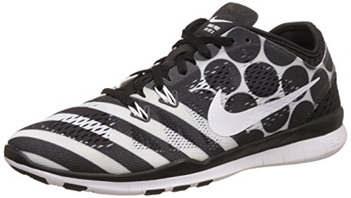 reputable site a3c47 715a2 Women s Nike Free 5.0 TR Fit 4 Print Training Shoe Black White Size 8.5 M