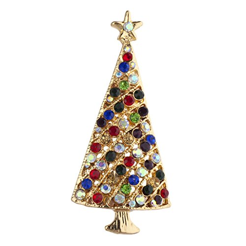 Lux Accessories Goldtone Multicolor Rhinestone Christmas Tree Holiday Brooch Pin ()