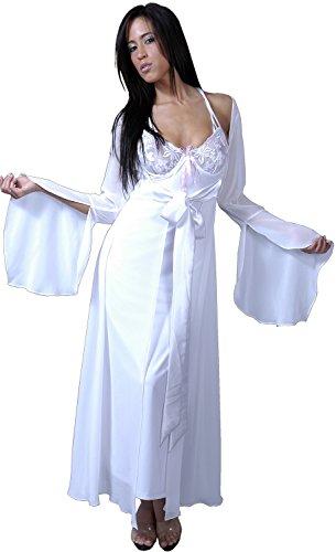 (Women's Plus Size Chiffon Long Robe #3038x (X-O/S, White))