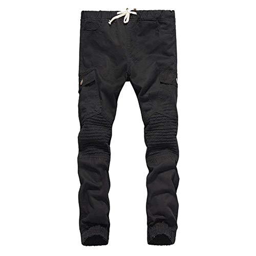Bobo Tasche 88 Pantaloni Il Libero Cotone Autunno Lungo A Laterali Da Pieghe Primavera Nero Uomo Tempo Per In Lavato HrqHI